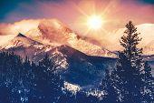 stock photo of rocky-mountains  - Colorado Mountains Vista in Abstract Color Grading - JPG
