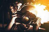 picture of 7-year-old  - Girl with Vintage Camera Closeup - JPG