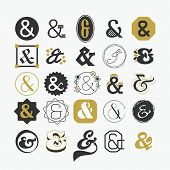 picture of ampersand  - Stylized Ampersand sign and symbol design elements set - JPG