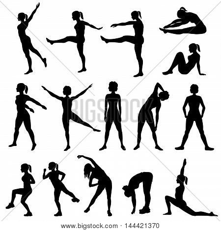 poster of Elegant women silhouettes doing fitness exercises. Fitness club icon set fitness exercises concept. Girls gym training vector illustration isolated on white background