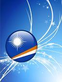 O botão de bandeira Ilhas Marshall na ilustração Original de luz de fundo abstrato
