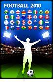 Global 2010 Soccer Match with Stadium Background Original Illustration