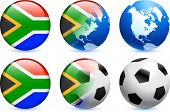 stock photo of usa flag  - South Africa Flag Button with Global Soccer Event Original Illustration - JPG