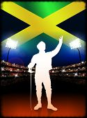 Jamaican Fencing on Stadium Background Original Illustration