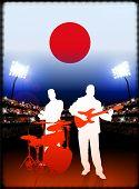 Постер, плакат: Живой бэнд с флагом Японии на стадион фон оригинальные иллюстрации