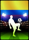 Columbia Soccer Player with Flag on Stadium Background Original Illustration