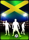 Jamaican Soccer Player with Flag on Stadium Background Original Illustration