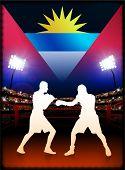 Bandera de antigua con el boxeador en estadio fondo ilustración Original