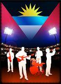 Antigua bandera con banda de música en vivo en estadio fondo ilustración Original