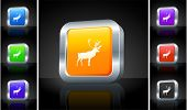 Deer Icon on 3D Button with Metallic Rim Original Illustration