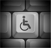 Disabled Icon on Computer Keyboard Original Illustration