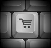 Shopping Cart Icon on Computer Keyboard Original Illustration