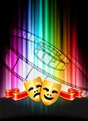 Comedy and Tragedy Masks on Abstract Spectrum Background Original Illustration