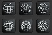 Globe Icons on Square Black Button Collection Original Illustration
