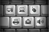 Computer Icons on Computer Keyboard Buttons Original Illustration