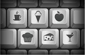 Dessert Icons on Computer Keyboard Buttons Original Illustration
