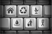 Recycle Icons on Computer Keyboard Buttons Original Illustration