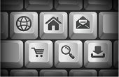 Internet Icons on Computer Keyboard Buttons Original Illustration