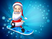 Santa claus on a snowboard