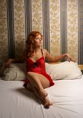 foto of moulin rouge  - Moulin Rouge styled picture with lady on the bed - JPG