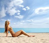 foto of monokini  - Sexy lady on the beach expanded version - JPG