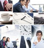 Business collage illustrating finance, communication, time, technology, real estate and business lif