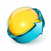 Abstract design, yellow sphere and blue arrow