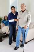 stock photo of health-care  - Home health care worker and an elderly couple - JPG