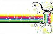 Cartão de arco-íris do vetor estilo retro fantasia