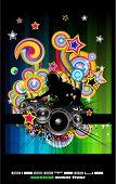Arco iris Techno discoteca Flyer con silueta de DJ abstracta.