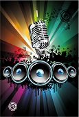 Colorful Disco Dancing Singer Night Background