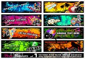 Disco Banner Collection with a lot of Music Design Elements - Set 1