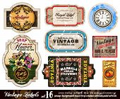 Vintage Labels Collection - nine design elements with original antique style -Set 16