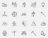 Travel and holiday sketch icon set for web, mobile and infographics. Hand drawn travel icon set. Tra poster