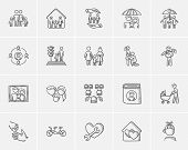 Family sketch icon set for web, mobile and infographics. Hand drawn family icon set. Family vector i poster