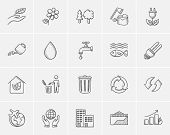Ecology sketch icon set for web, mobile and infographics. Hand drawn ecology icon set. Ecology vecto poster