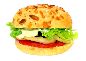 foto of veggie burger  - healthy vegetarian hamburger with wholegrain bread and lot of fresh vegetables - JPG