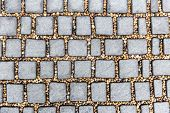 Cobblestone Stone Block Footpath Texture Pattern Background poster