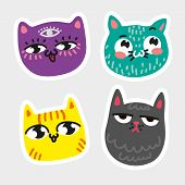 Cat Icon Collection Quad Colorful Isolated Cat Stickers Striped Yellow Cat Purple Cat With Eye In Fo poster
