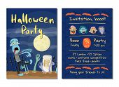 Zombie Party Invitation With Walking Dead Man In Graveyard At Full Moon. Halloween Event Advertising poster