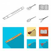 Musical Instrument Outline, Flat Icons In Set Collection For Design. String And Wind Instrument Isom poster