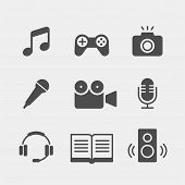 Media Flat Vector Icons Set. Multimedia Flat Vector Icons Set. Note, Music, Games, Joystick, Camera, poster