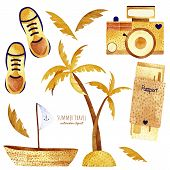 Travel Watercolor Clipart. Summer Collection With Palm, Camera, Leaves, Boat, Passport, Sneakers. Pe poster