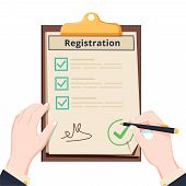 Man Hold Registration Clipboard With Checklist. Man Hold In Hand Clipboard Agreement. Flat Design, V poster