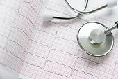 Medical Concept: Stethoscope, And Cardiogram Are On A White Background poster