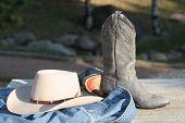 Cowgirl Boots, Hat And Denim Jacket