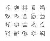 Simple Set Of Law And Justice Related Vector Line Icons. Contains Such Icons As Themis, Court, Polic poster