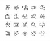 Simple Set Of Marketing Related Vector Line Icons. Contains Such Icons As Mail Marketing, Target Aud poster