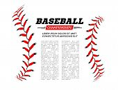 Baseball Ball Text Frame On White Background Vector Illustration poster