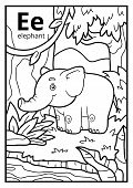 Coloring Book For Children, Colorless Alphabet. Letter E, Elephant poster